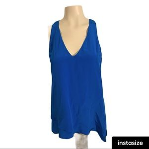 Blue Silk Tank Top from Luxury brand Lavender Brown NWT'